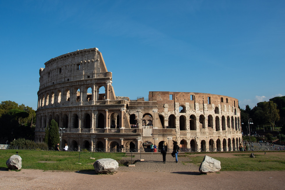 The majesty of the Colosseum on a sunny day