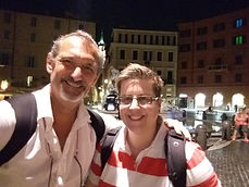 Selfie with happy client at Piazza Navona during the Unique Rome Photo Tour from Dusk to Dawn, by Giulio D'Ercole of Rome Photo Fun Tours.