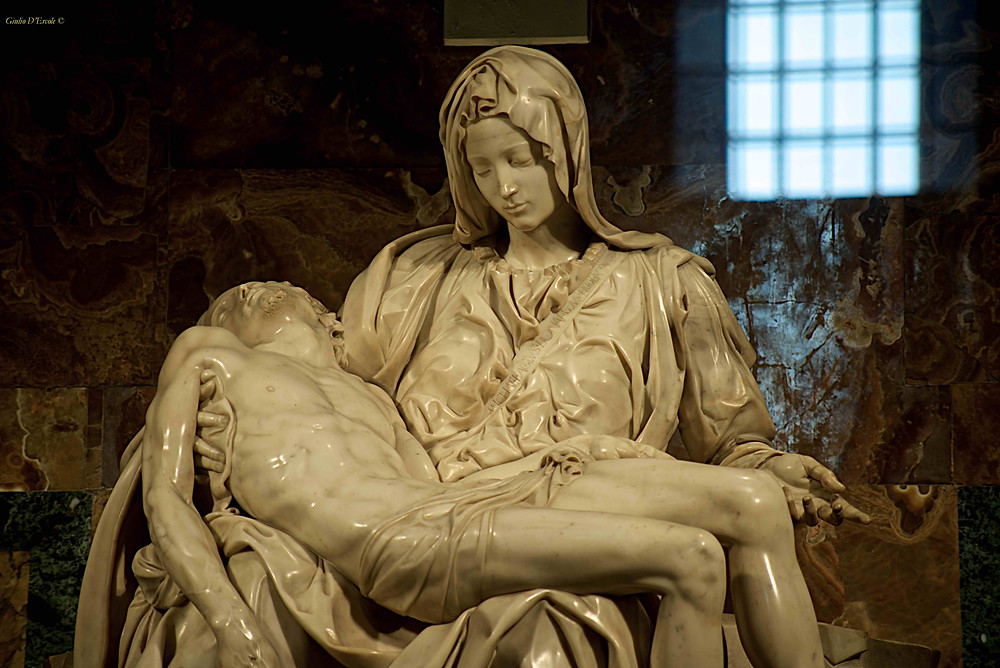 Michelangelo's La Pieta' in St. Peter's Church. Come to photograph it with  Giulio D'Ercole's Rome by Day Churches Angels and Art Photo tour