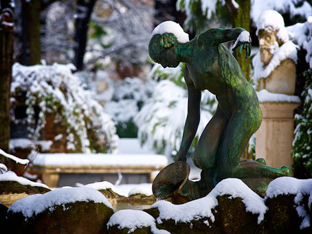 86. Winter in Villa Borghese, Elegance under the Snow