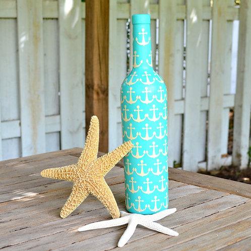 Upcycled Aqua Anchor Bottle
