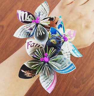 Disney Park Map Paper Flower Wedding Corsage
