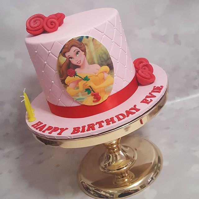 Belle ♡__#beautyandthebeast #cake #girl #third #pink #rose #movie #classic #disney #birthday #pemulw