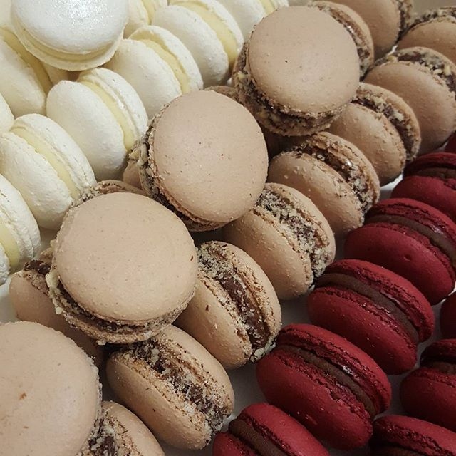 What a delicious mix of macarons ♡__#vanillabean_#hazelnut _#chocolate__#macarons #pemulwuycupcakes