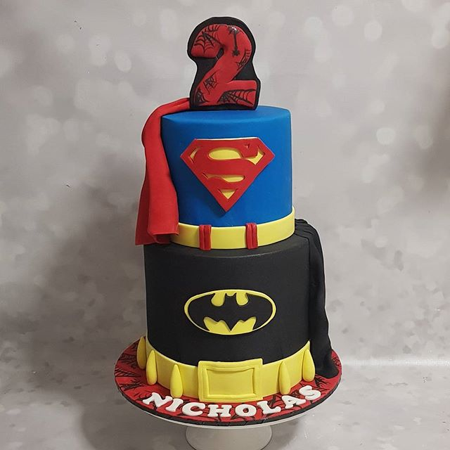 Happy 2nd #birthday to Nicholas! _#superherocake #boyscakes #boysparty #hbd #two #spiderman #batman