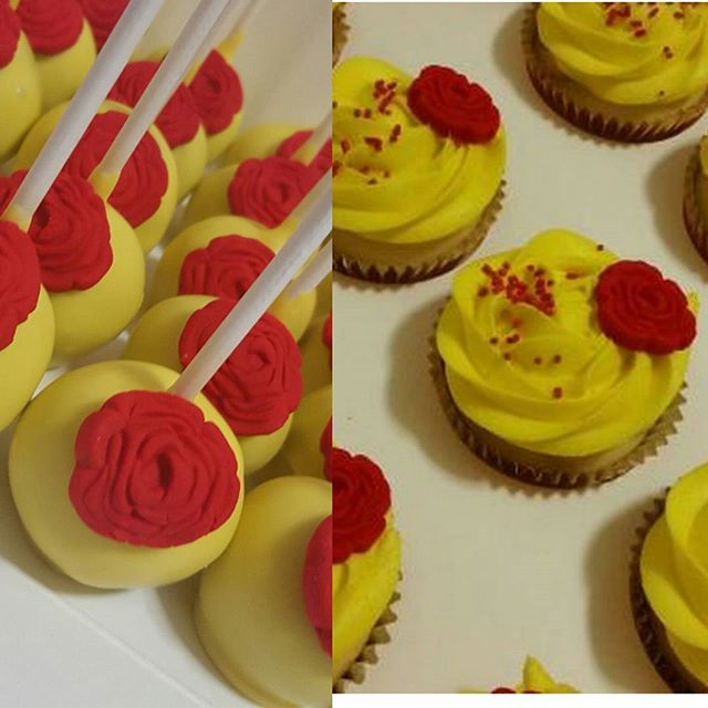 Matching beauty and the beast cake pops & cupcakes _#cakepop #beautyandthebeast #disney #redrose #cu
