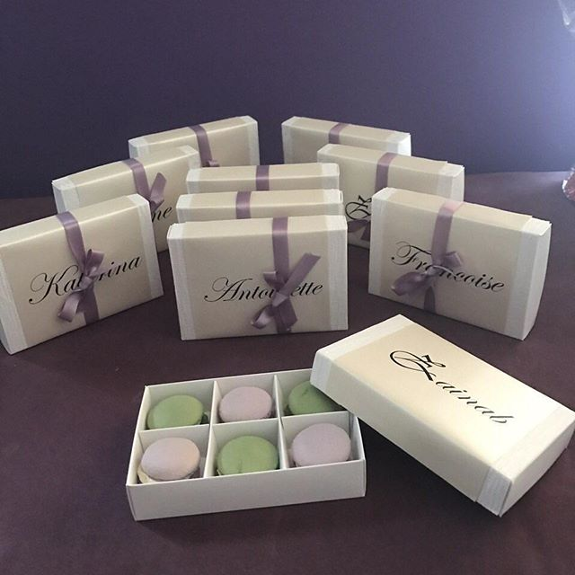 Enjoyed being a part of these little treats ♡ lavender and sage green macs to help a bride ask her b