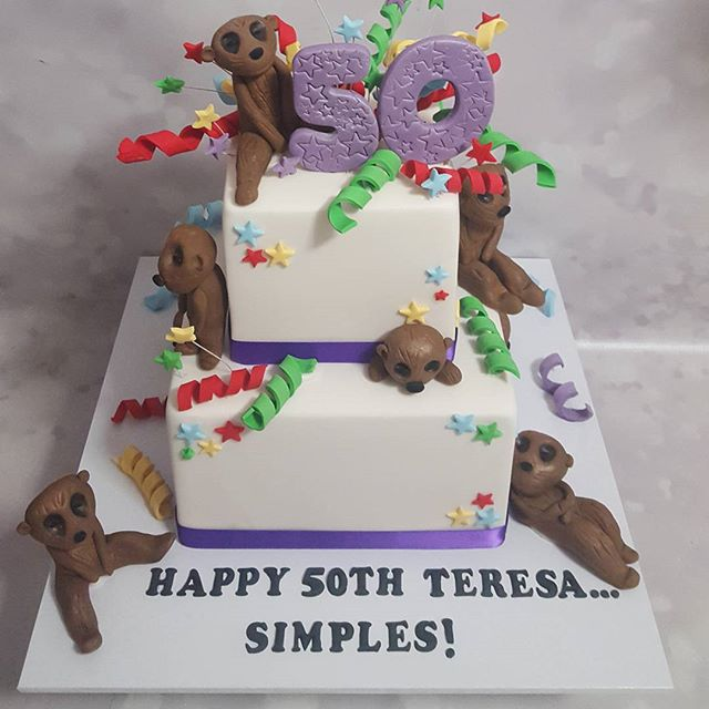A cute 50th birthday for a meerkat fanatic _#pemulwuycupcakes #cakeoftheday #caramel #cakeart #fifty
