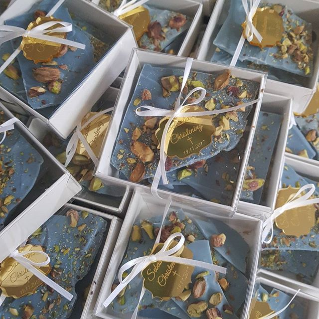 Perfect favours for Sebastian's Christening today ♡ _#homemade chocolate bark with toasted pistachio
