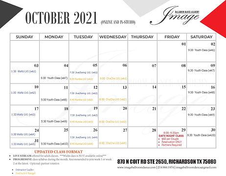 OCTOBER dance group class calendar