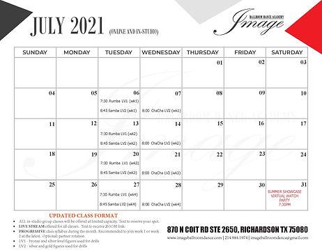 JULY 2021 group class calendar