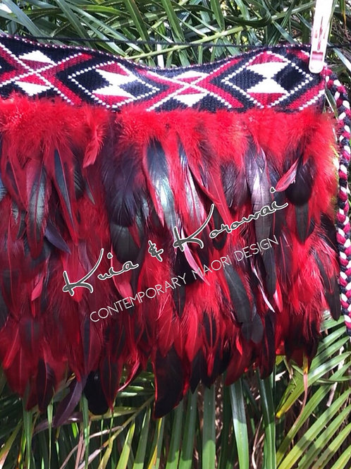 """Kiki"" Red & Black Infant Full Feather Cloak"
