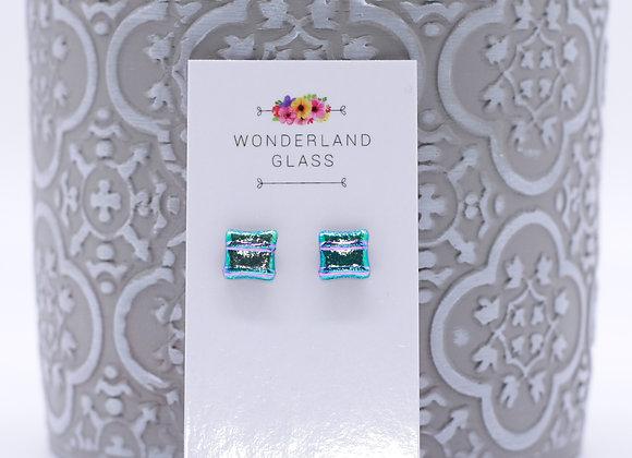 Striking Greeny Gold Dichroic Glass Stud Earrings.