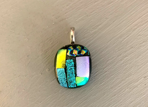 Small Multi Coloured Dichroic Glass Pendant.