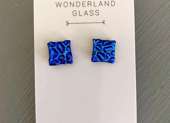 Green & Blue Dichroic Glass Stud Earrings.