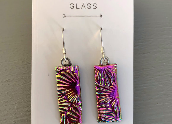 Deep Pink Dichroic Glass Drop Earrings.