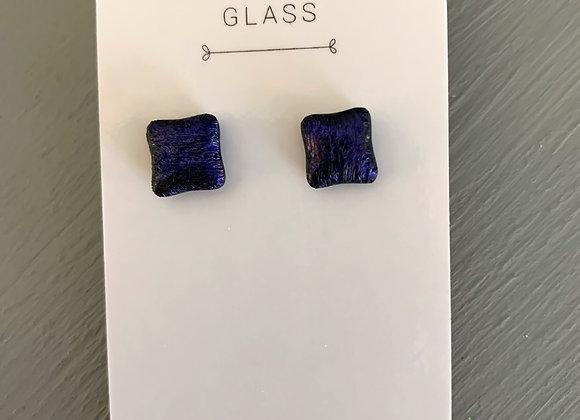 Dark Purple Dichroic Glass Stud Earrings.