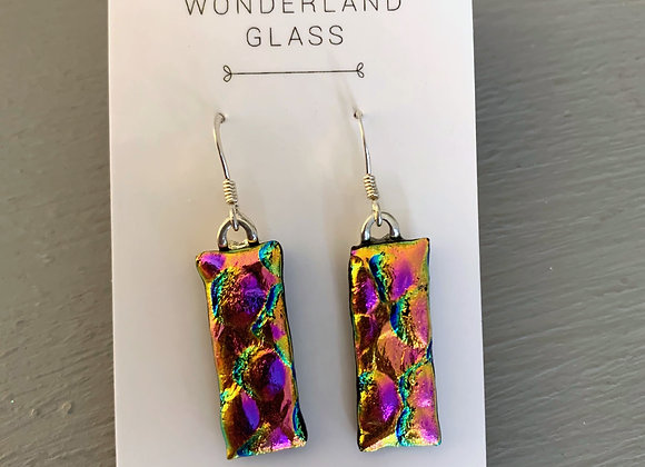 Deep Pink & Gold Dichroic Glass Drop Earrings.