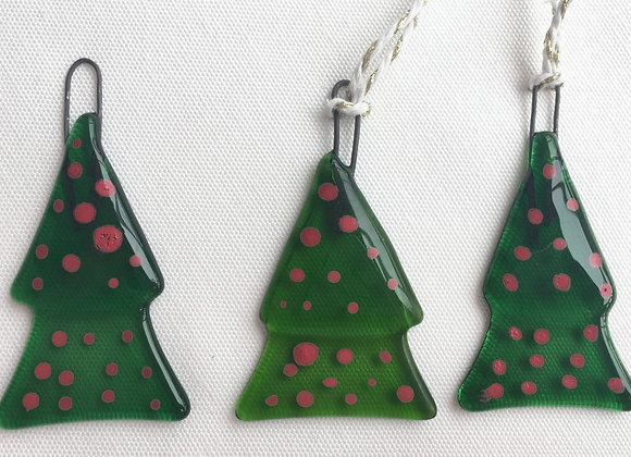 Dark Green with Red Spot Dark Christmas Tree.