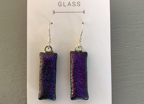 Deep Purple Dichroic Glass Drop Earrings.