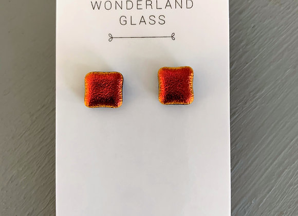 Candy Apple Red Dichroic Glass Stud Earrings.