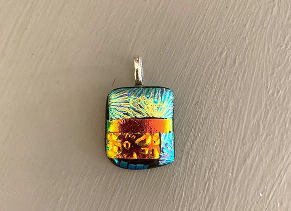 Gold & Orange Dichroic Glass Pendant.
