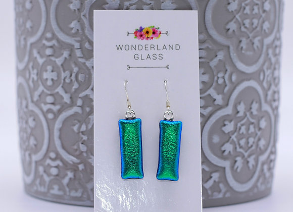 Emerald Green Dichroic Glass Drop Earrings.