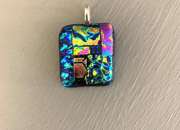 Multi Coloured Dichroic Glass Pendant.