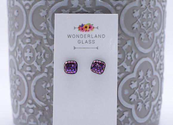 Pinky Purple Spot Dichroic Glass Stud Earrings