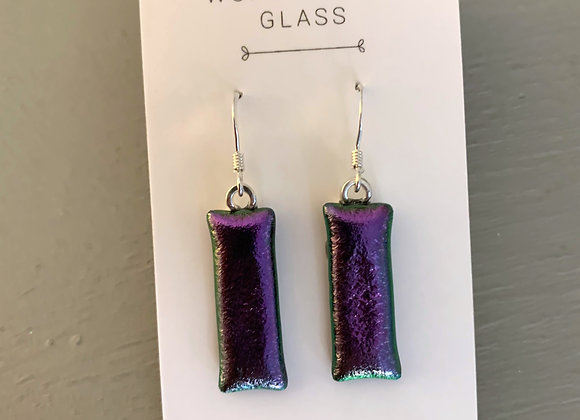Purple Dichroic Glass Drop Earrings.