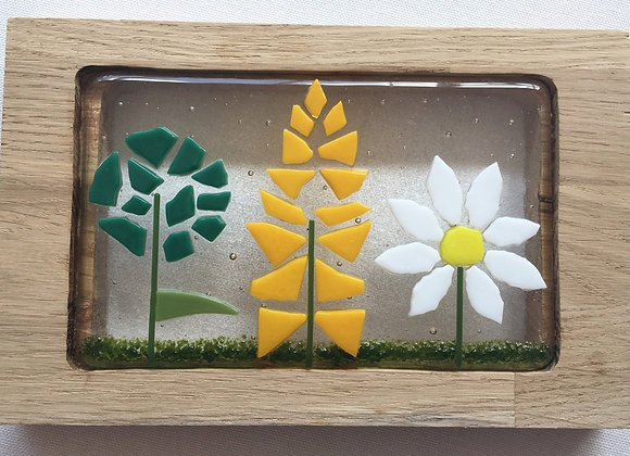 Triple Floral Wooden Panel.