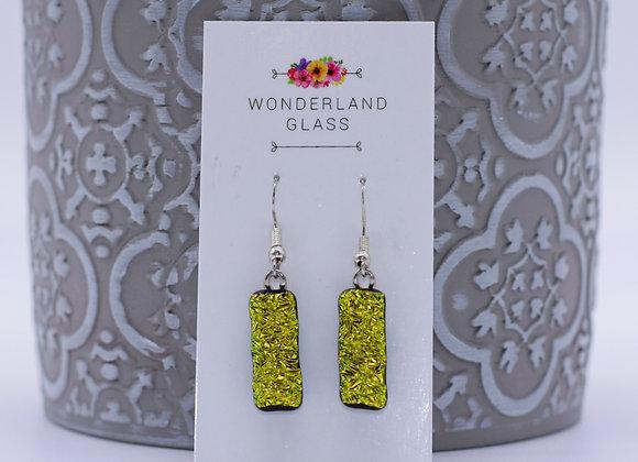 Textured Gold Dichroic Glass Drop Earrings.