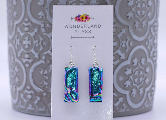 Bright Blue Dichroic Glass Drop Earrings