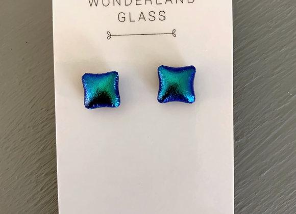 Emerald Green Dichroic Glass Stud Earrings.