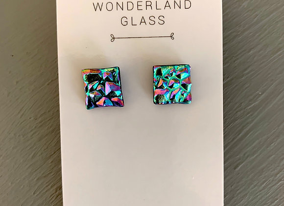 Multi-Coloured Dichroic Glass Stud Earrings.