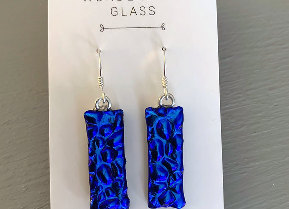 Bright Blue Dichroic Glass Drop Earrings.