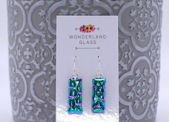 Greeny Gold Multi Dichroic Glass Drop Earrings