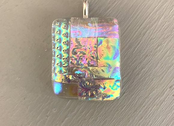 Multi Coloured Clear Dichroic Glass Pendant.
