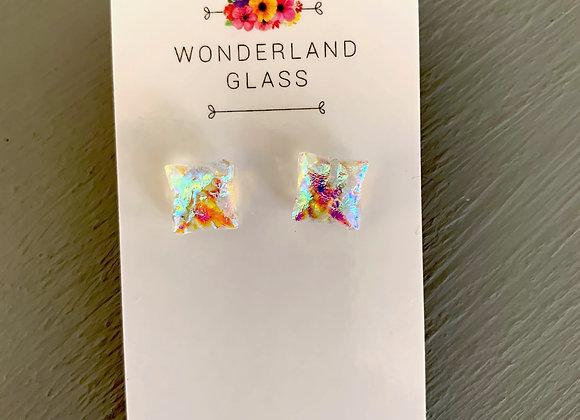 Multi-Coloured Clear Dichroic Glass Stud Earrings.