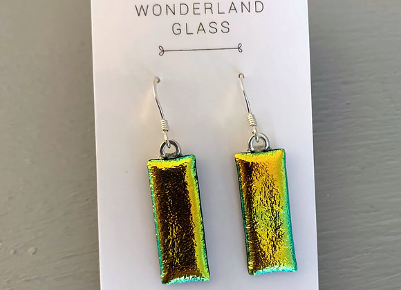 Gold Dichroic Glass Drop Earrings.