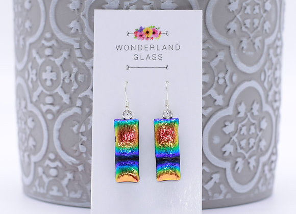 Rainbow Gradient Dichroic Glass Drop Earrings.