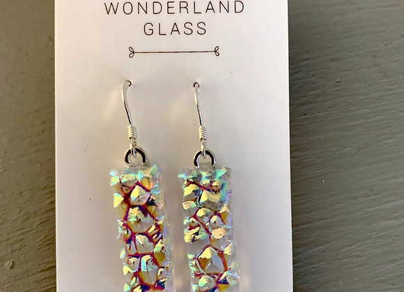 Textured Dichroic Glass Drop Earrings on Clear.