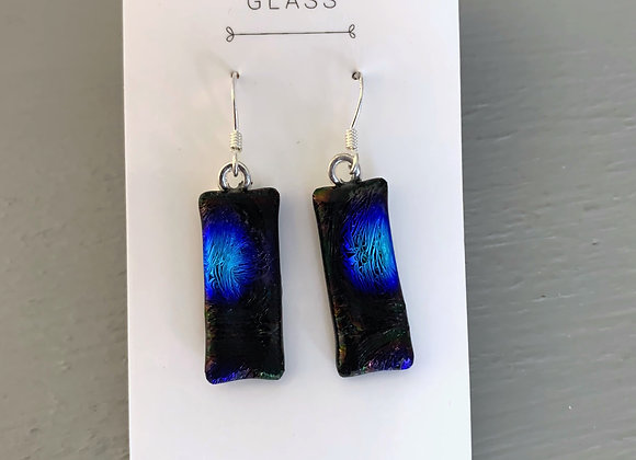 Black & Blue Dichroic Glass Drop Earrings.