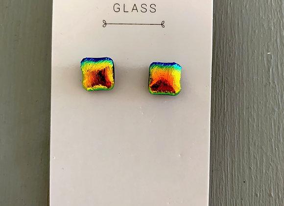 Rainbow Gradient Dichroic Glass Stud Earrings.