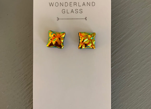 Textured Orange Dichroic Glass Stud Earrings.