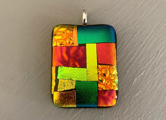 Multi Coloured Dichroic Glass Pendant.