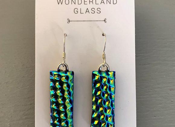 Goldie/Green Dichroic Glass Drop Earrings.