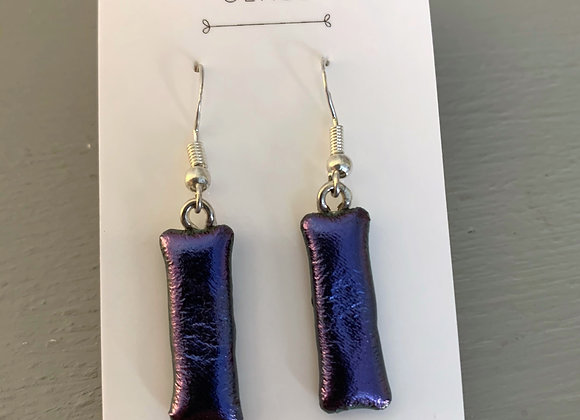 Dark Purple Dichroic Glass Drop Earrings.