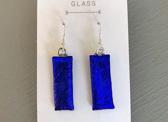 Royal Blue Textured Dichroic Glass Drop Earrings.