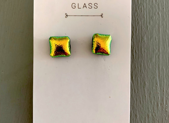 Gold Dichroic Glass Stud Earrings.